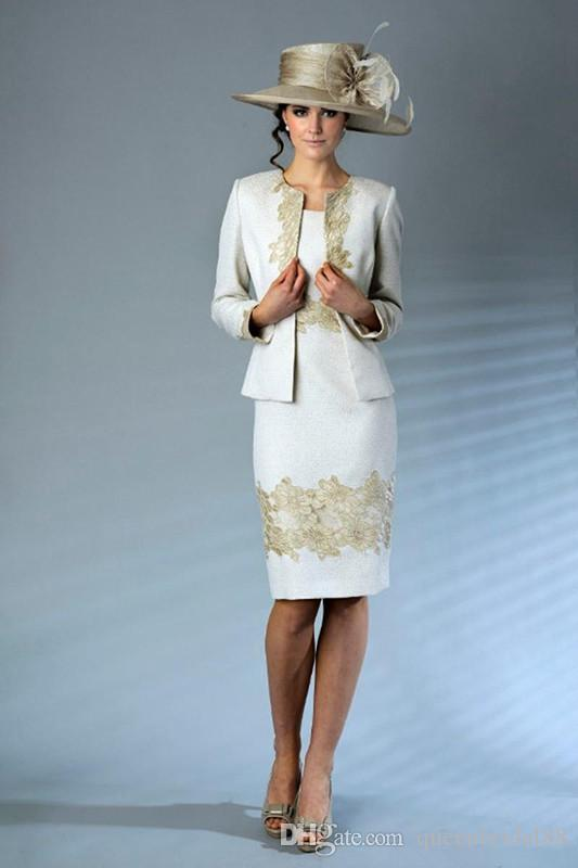 Fashion Applique Knee Length Short Mother of the Bride Dresses with Long Sleeves Jacket Wedding Guest Dress