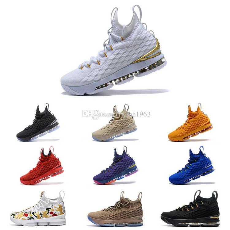 090b7e17da5 2019 New Top 15 Basketball Shoes Mens 15 Gold Championship MVP Finals  Training Sneakers Designer Sports Running Shoes White Size 7 12 Cheap  Basketball Shoes ...