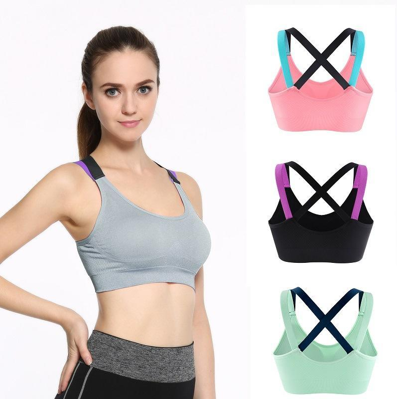 26ccfcf892697 Sexy Cross Strap Back Women Quick Dry Sports Bra Professional Padded  Shockproof Running Gym Fitness Yoga Sports Brassiere Tops Sports Bras Cheap  Sports Bras ...