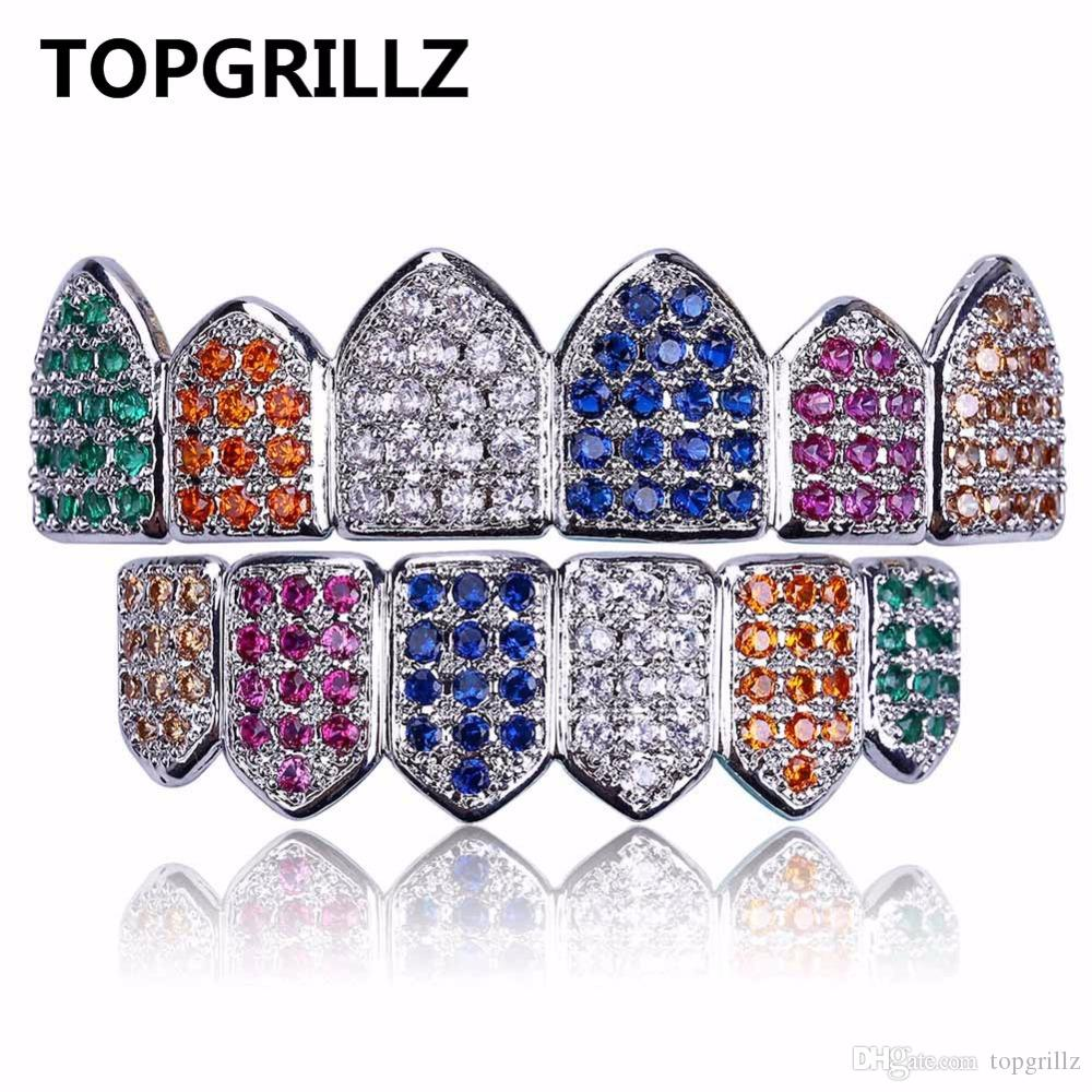 TOPGRILLZ хип-хоп Грили золото / серебро цвет Grillz многоцветный микро проложить CZ Bling кубический Циркон Верхний Нижний зубы Grillzs