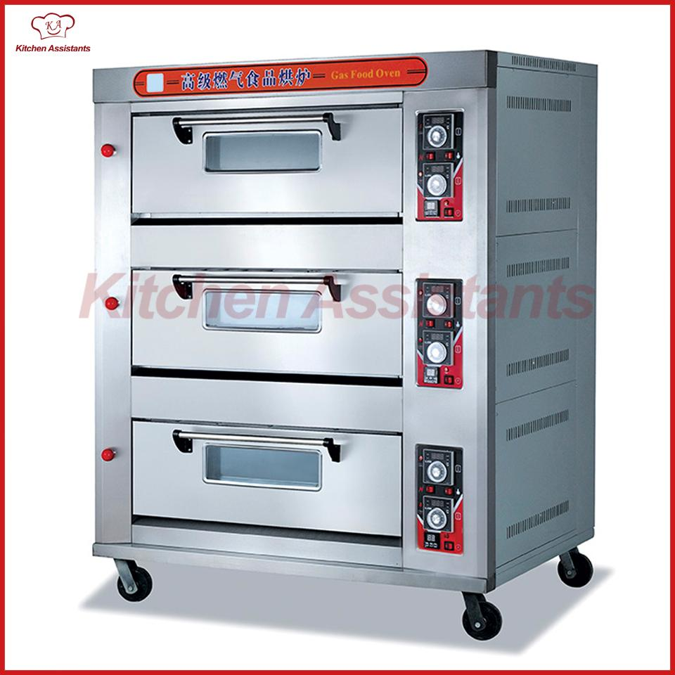 HTR60Q Vertical Luxury Gas Food Oven of 3 Deck of Bakery Equipment ...