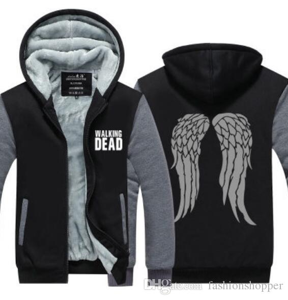 The Walking Dead Cosplay Winter Cashmere Hoodie Zipper Jacket Leisure Sweatshirts Thicken Cardigan Coat Long Sleeve Tracksuit Pullovers Tops
