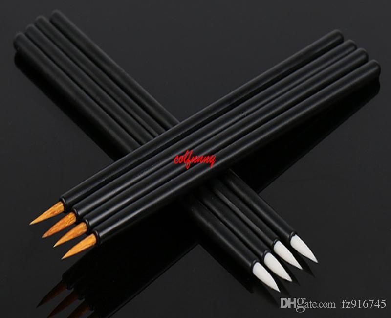 Fast Shipping Hot Wholesale Black Handle Golden Brush Fiber Disposable Liquid Eye Liner Brush Cosmetic Makeup Tools