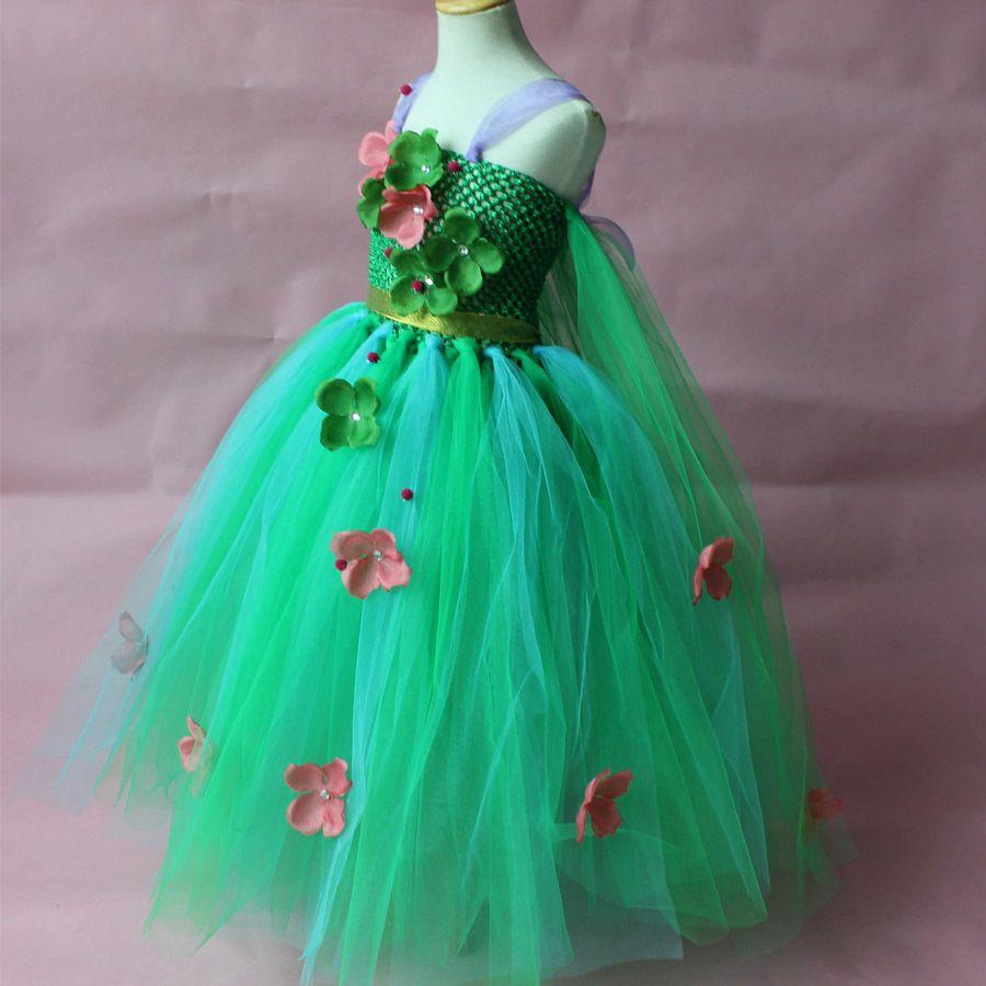 Vestido de niña de flores de colores del país con pétalos Vestido de niña hermosa del desfile