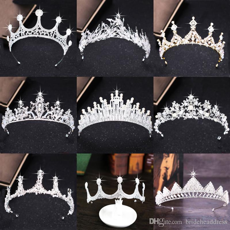 Grosshandel Luxus Silber Strass Hochzeit Tiara Krone Perle Konigin