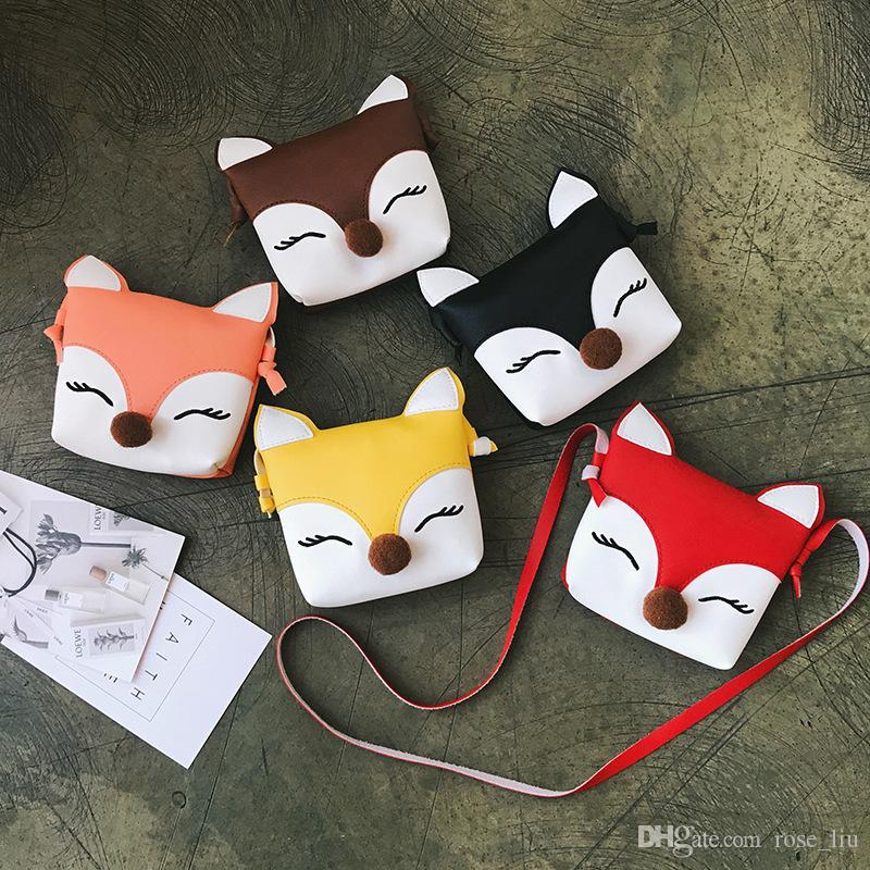 5 Color Girls INS Fox PU Bags 2018 New Children fashion Single shoulder aslant coin purse Bags wallet B
