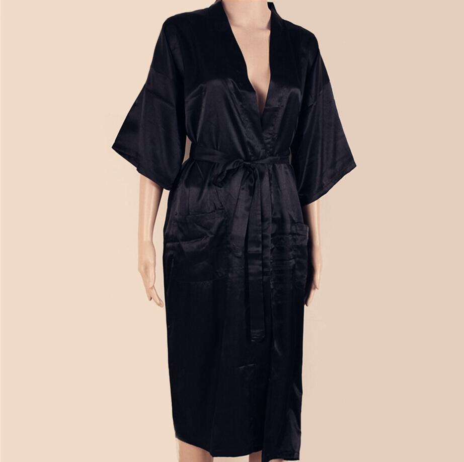 591e81bd52 BLACK Mens Robe Hot Sale Faux Silk Kimono Bath Gown Bathrobe ...