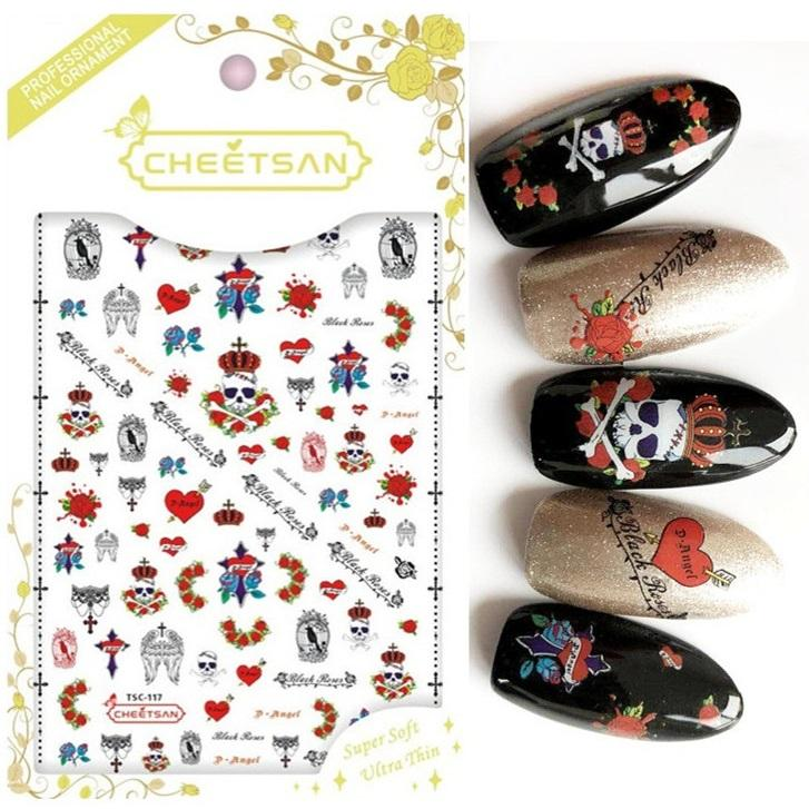 TSC-117 Cheetsan brand Skull Punk rock and roll love 2018 newest 3d nail  art stickers nail decals export quality gold sticker