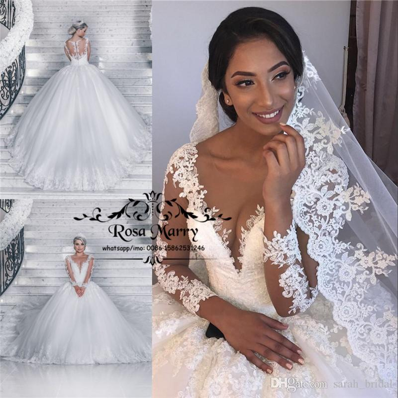 8d1d6a726a Victorian Vintage Lace Ball Gown Wedding Dresses 2019 Illusion Long Sleeves  Plus Size Arabic African Bridal Gowns Vestido De Novia Bridal Dresses  Online ...