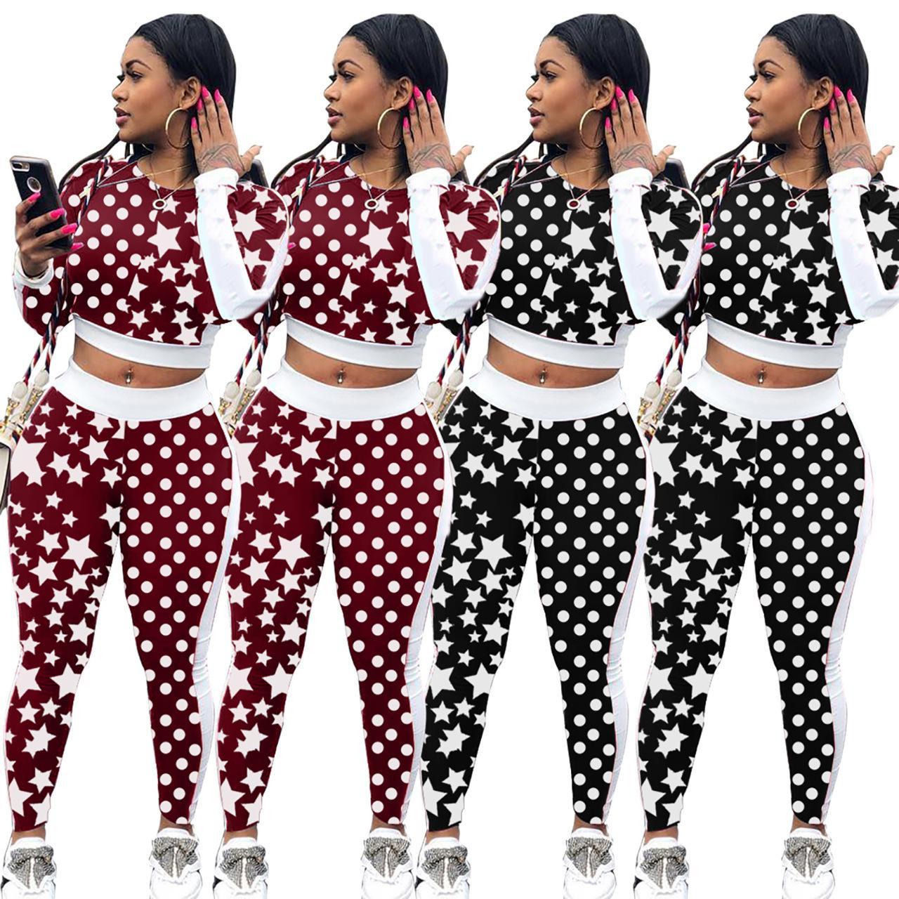 bf74cc90a Compre Mulheres Imprimir Estrelas Fatos De Treino Top Colheita + Calças 2  Peça Conjunto De Mulher Roupa Das Mulheres Suor Ternos Roupas Roupas De  Hengda999