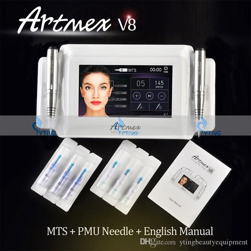 2 in 1 Intellegent Artmex V8 Tattoo Permanent Makeup Machine Touch Screen 2 pens PMU + MTS tattoo eyebrow pen make up equipment