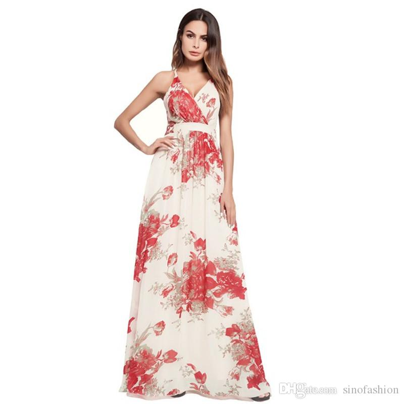 6fc7b4fb2d Summer Party Maxi Dresses Women Floral Print Elegant Casual Long Dress Sexy  Backless Bandage Beach Dresses Teenage Party Dresses Inexpensive Cocktail  ...