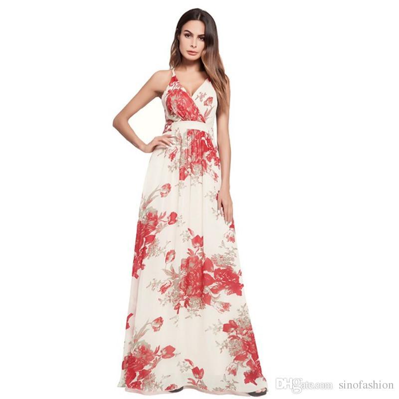 c2a5ea9e0b9 Summer Party Maxi Dresses Women Floral Print Elegant Casual Long Dress Sexy  Backless Bandage Beach Dresses Teenage Party Dresses Inexpensive Cocktail  ...