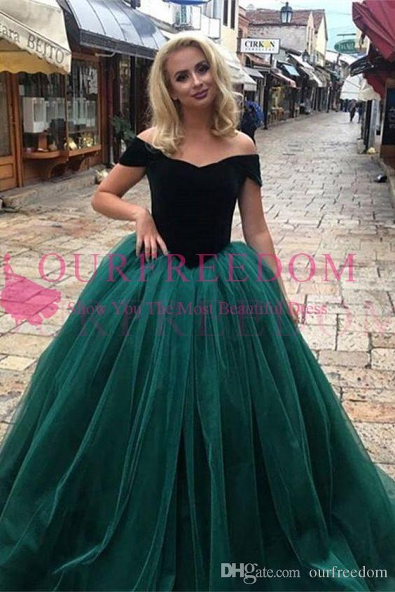 2019 New Elegant A Line Evening Dresses Off The Shoulder Velvet Dark Green Tulle Formal Occasion Dresses Custom Made Hot Sale