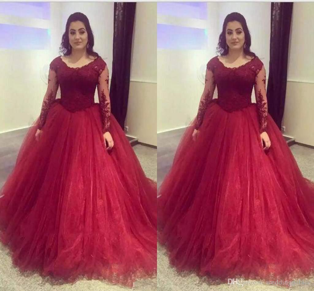 2018 Quinceanera Dresses Long Sleeve Lace With Appliques Scoop Organza Custom Made Elegant Evening Gowns Formal Prom Dresses