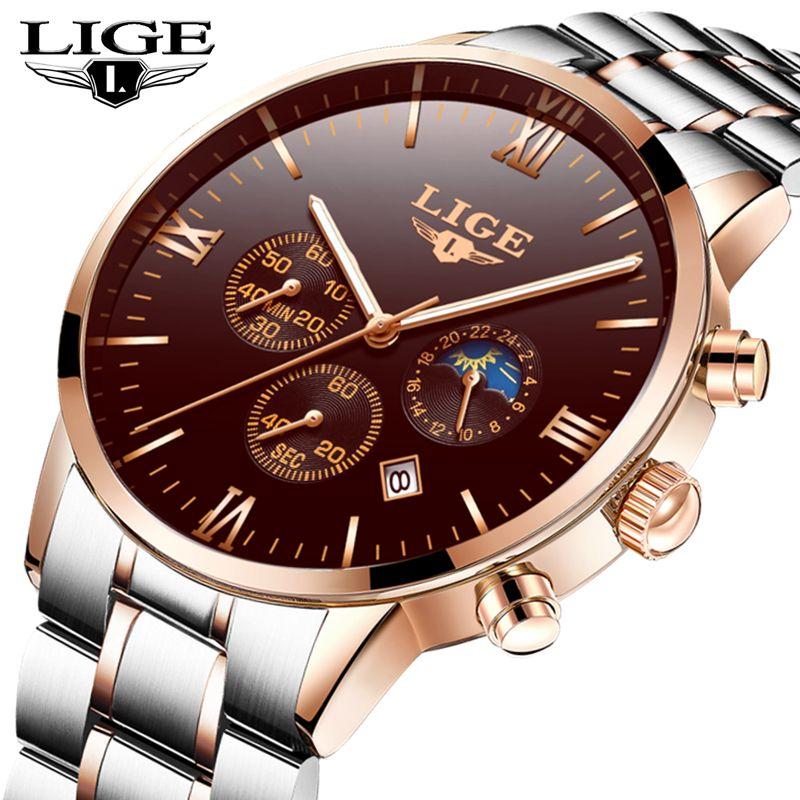 a40f8533599 2018 New Watches Men Luxury Brand LIGE Chronograph Men Sports ...