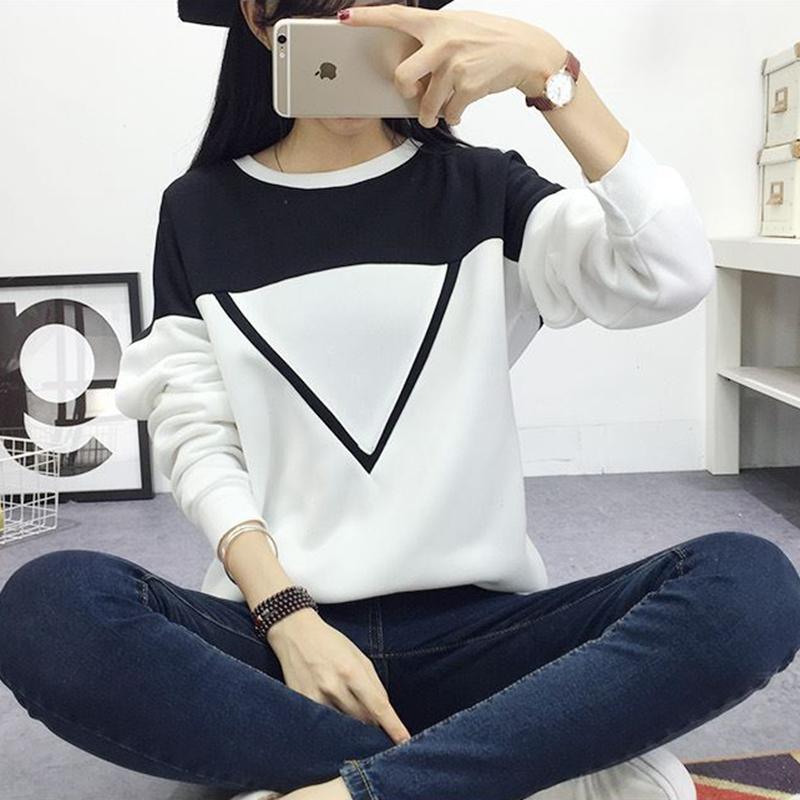 2019 Invierno Nueva Moda Negro y Blanco Hechizo Color Patchwork Hoodies Mujeres V Patrón Pullover Sudadera Mujer Chándal M XXL