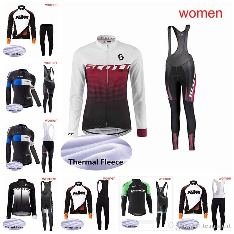 ... KTM Team Women Cycling Winter Thermal Fleece Jersey Bib Pants Sets Women  Fast Day Breathable Jersey Mountain Clothing S91305 Best Cycling Jerseys  Merino ... e4351d50b
