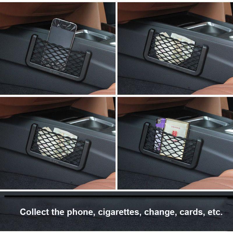 Sac de rangement en filet de voiture pour organisateur de stockage universel pour support de poche pour BMW E46 Creative Sac de rangement en filet pour voiture Styling Accessoires