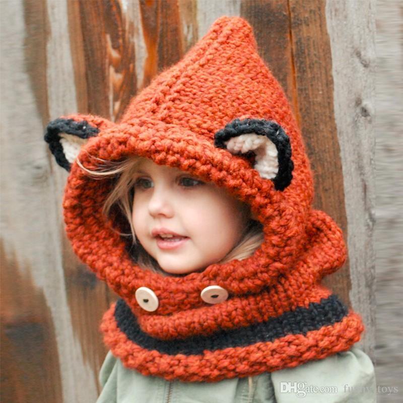Compre Sombrero De Bebé De Invierno Con Bufanda Fox Forma Crochet ...
