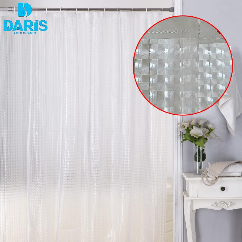 2018 DARIS Plastic PEVA 3d Waterproof Shower Curtain Transparent White Clear Bathroom Luxury Bath With Hooks From Sophine12 2217