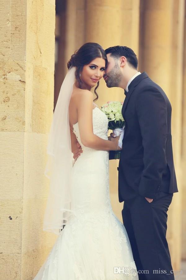 High Quality Arabic Vestido De Novia Mermaid 2017 Wedding Dresses Sweetheart Neckline Sleeveless Lace Appliques Corset Back Bridal Gowns