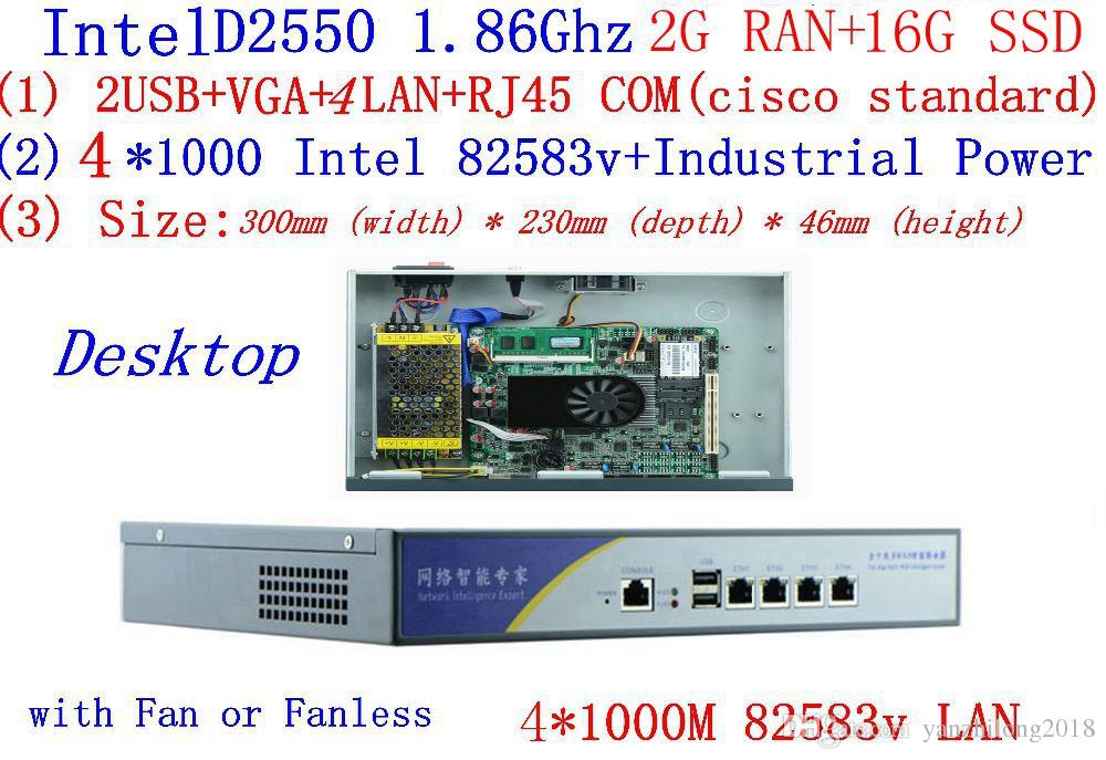With 2G RAM 16G SSD firewall server atom D2550 1 86G 4*intel PCI-E 1000M  82583v Lan support Panabit Wayos ROS Mikrotik PFSense