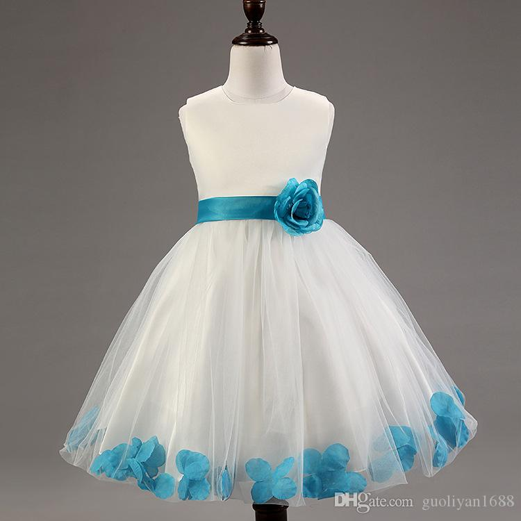 Flower Petals Girls Party Dress Children Baby Wedding Party Flower Girl Dresses 2018 New Designs Prom Gown Princess Costume Made