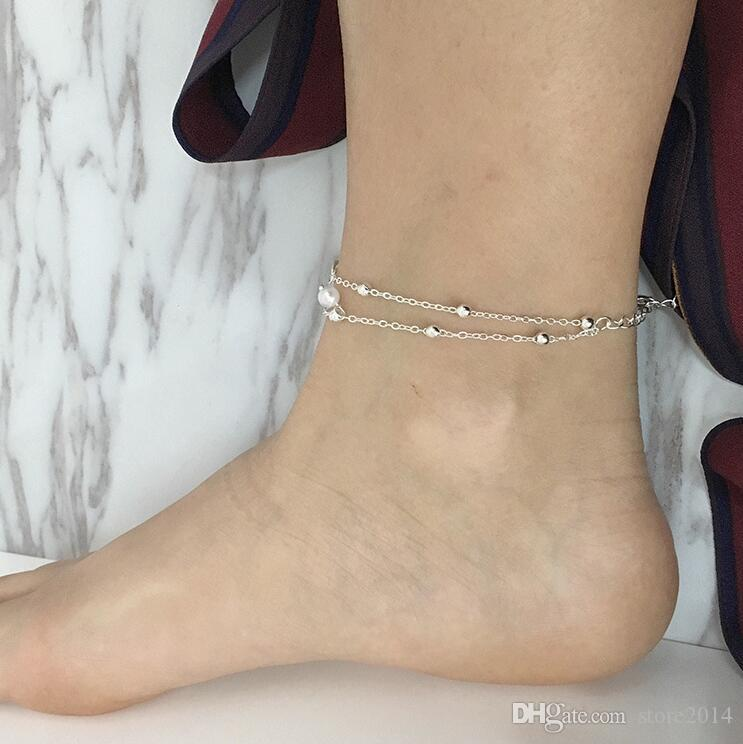 Pulsera del tobillo de la playa del verano de la manera de la vendimia Joyería infinita del pie Perla del grano Pulsera de cadena de plata del tobillo del oro de la cadena para las mujeres