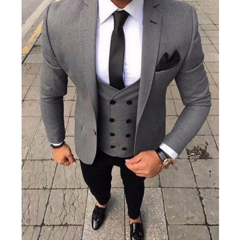 2019 2018 Latest Coat Pant Designs Smoking Grey Men Suit Slim Fit