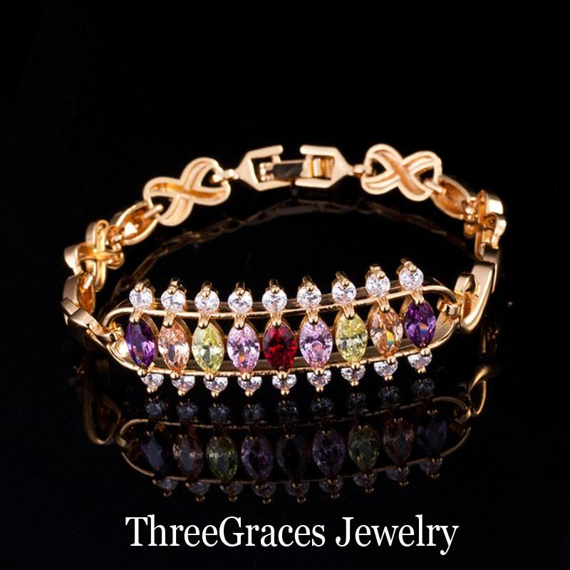 ThreeGraces Elegant Gold Color Bridal Jewelry Clear White 3 Row Round And Marquise CZ Crystal Wedding Bracelets For Women BR073