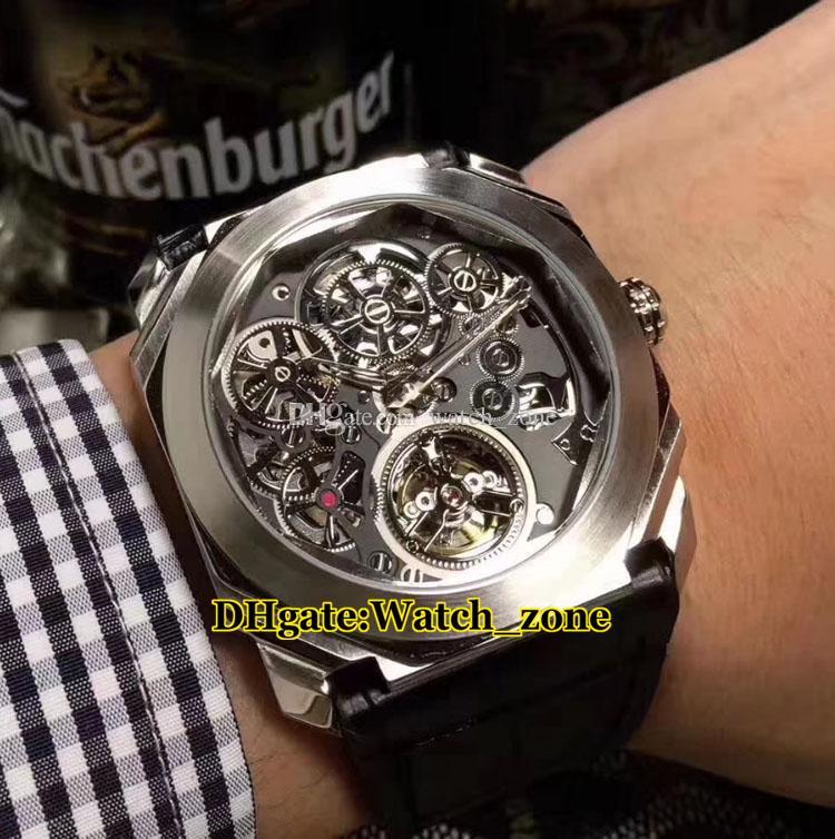 Octo Turbillon İskelet Siyah Dial 102719 Otomatik Erkek İzle Gümüş Kılıf Deri Kayış Ucuz Yeni Yüksek Kaliteli Saatı