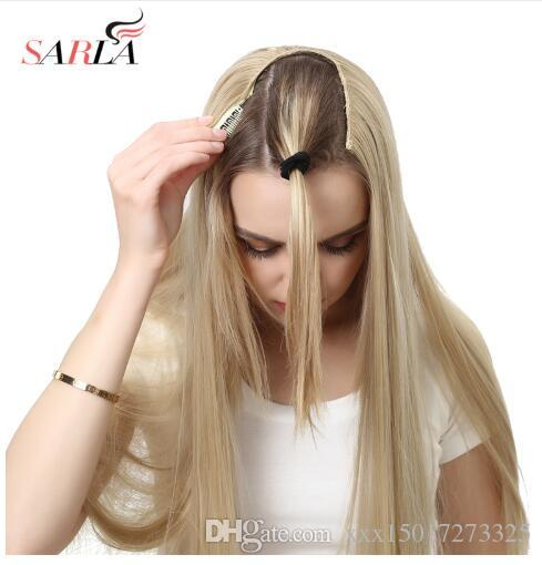 "24"" 170g U-Part Clip in Hair Extension Straight & Wavy Ombre One Piece Full Head Long Natural False Synthetic Hairpieces"
