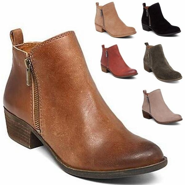 Autumn New Women Ankle Boots Low Heel Shoes Women Fashion Zipper Suede  Leather Bootie Ladies Shoes Moon Boots From Sweetheart9 7d3041c825