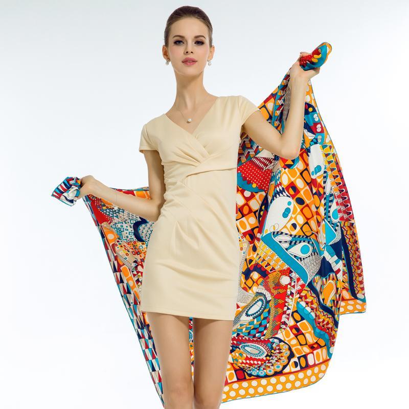 f70fb8b3af4 Acheter Mode De Luxe Marque 130   130 Cm Soie Carré Foulard Foulard  Géométrique Papillon Hijab Châle Wrap Femme Écharpe Bandana De  31.92 Du  Huazu