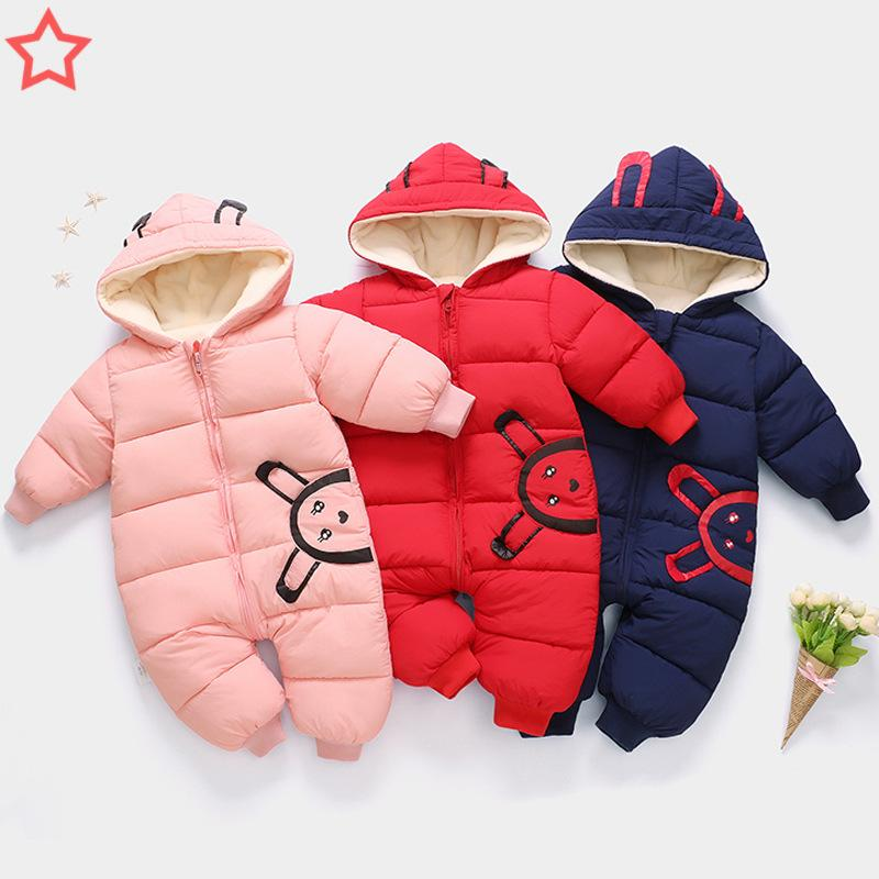 a881e9c9b453 2019 Newborn Baby Winter Rompers Cartoon Hooded Thicken Jumpsuits Baby Boys  Casual Warm Snowsuits Pajamas Fashion Sleepwear 0 12M From Babyhouse3