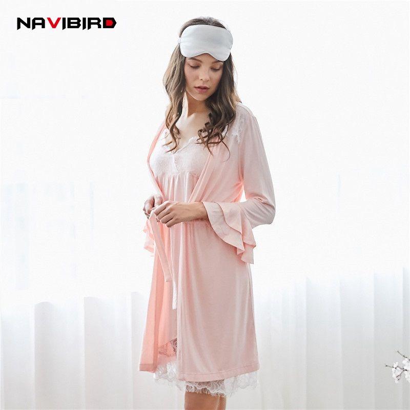 2018 Summer Gilrs Lace Long Night Gown Set 2018 Imitation Silk ...