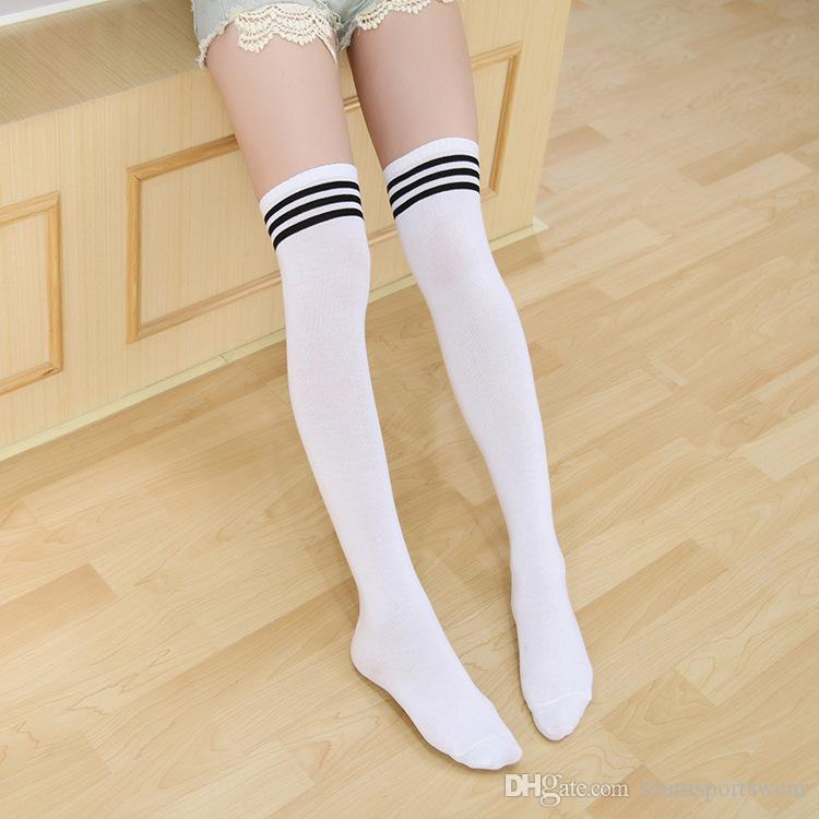 a0f4cd93c 2019 College Winds Sexy Cotton Socks Women Stripe Knees Girl Lady Sock  Three Bars Over Knee High Tube Student Soccer Socks Hot Thigh Stockings  From ...