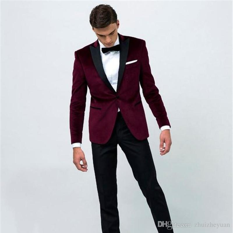 New Fashion Burgundy Wedding Suits Groom Tuxedos Black Peaked Lapel Trim  Fit One Button Two Piece Men Evening Party Suits Jacket+Pants+Tie Prom Suit  Men ... a5f13c5bb5c0