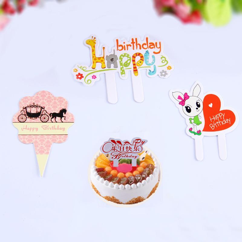 50 Pçs Lote Dos Desenhos Animados Cartão De Decoração Do Bolo De Aniversário Feliz Queque Topper Picks Festa De Aniversário Dos Miúdos