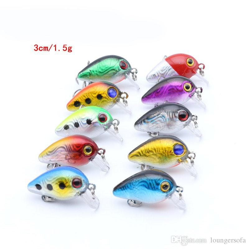 3cm Super Mini Lures Baits For Fishing Sports Artificial Fake Pesca With Hook Lightweight Tackle Colorful Attract The Fishes 1 9bz ZZ