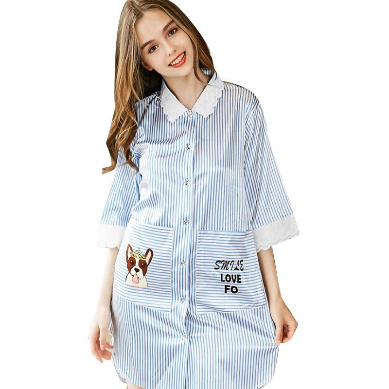 949f1d4f18 2019 Womens Sleep Sleep Tops 2018 Summer Casual Spinning Silk Sexy Pajamas  Half Stripe Turn Down Collar Silk Tracksuit Tops From Tutucloth