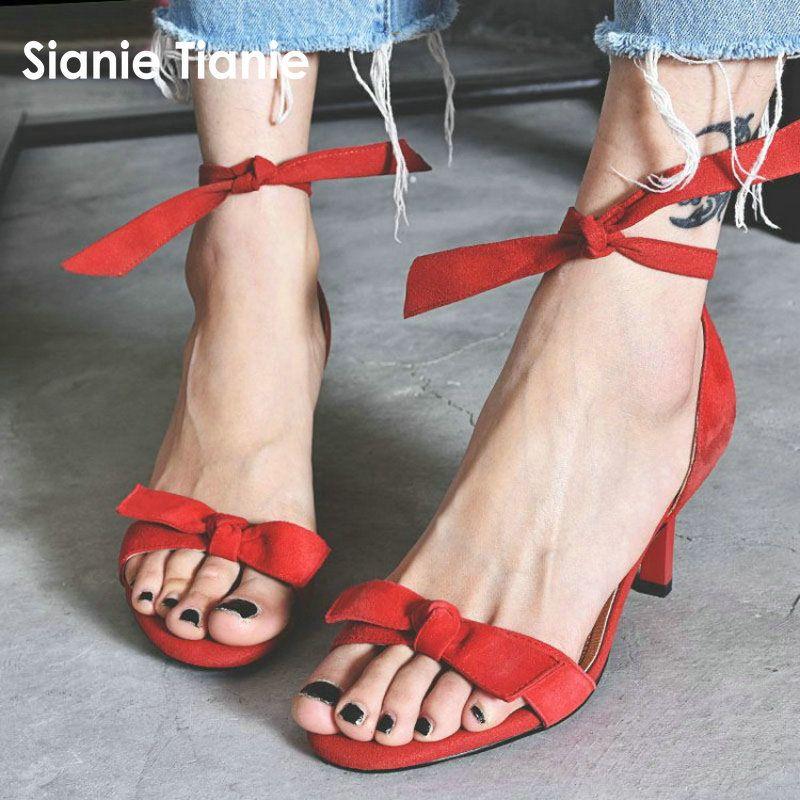 930d372f Compre Sianie Tianie Cuero Genuino Gamuza Sexy Rojo Negro Mujer Zapatos De  Verano Delgados Tacones Altos Mujeres Gladiador Sandalias Zapatos De Mujer  A ...