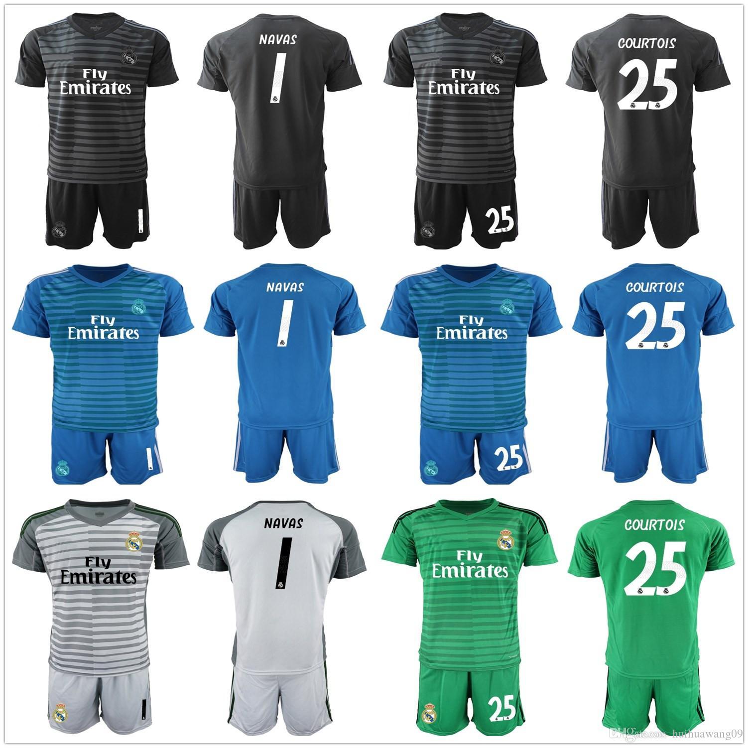 2018 2019 Adults Keylor NAVAS 25 Courtois Real Madrid Soccer Sets  Goalkeeper Jersey Kit Men Benzema Bale Goalie Blue Black Football Uniform  UK 2019 From ... a615e35f2fe44
