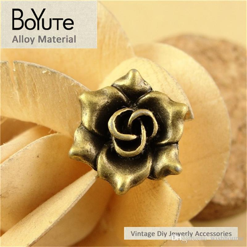 BoYuTe / 17*6.3MM Antique Bronze Plated Zinc Alloy Charms Rose Vintage Style Diy Pendant for Jewelry Making Accessories