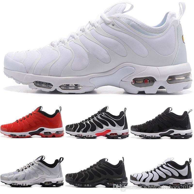 501412b4154 2018 Designer Tn Plus Ultra Running Shoes Mens Triple S Black White ...