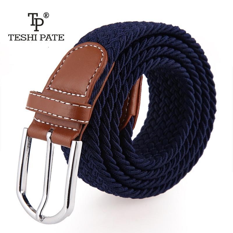02881477a385e ceinture élastique tricoté toile ceinture décoration femme boucle ardillon  toile sangle femme et homme 2018