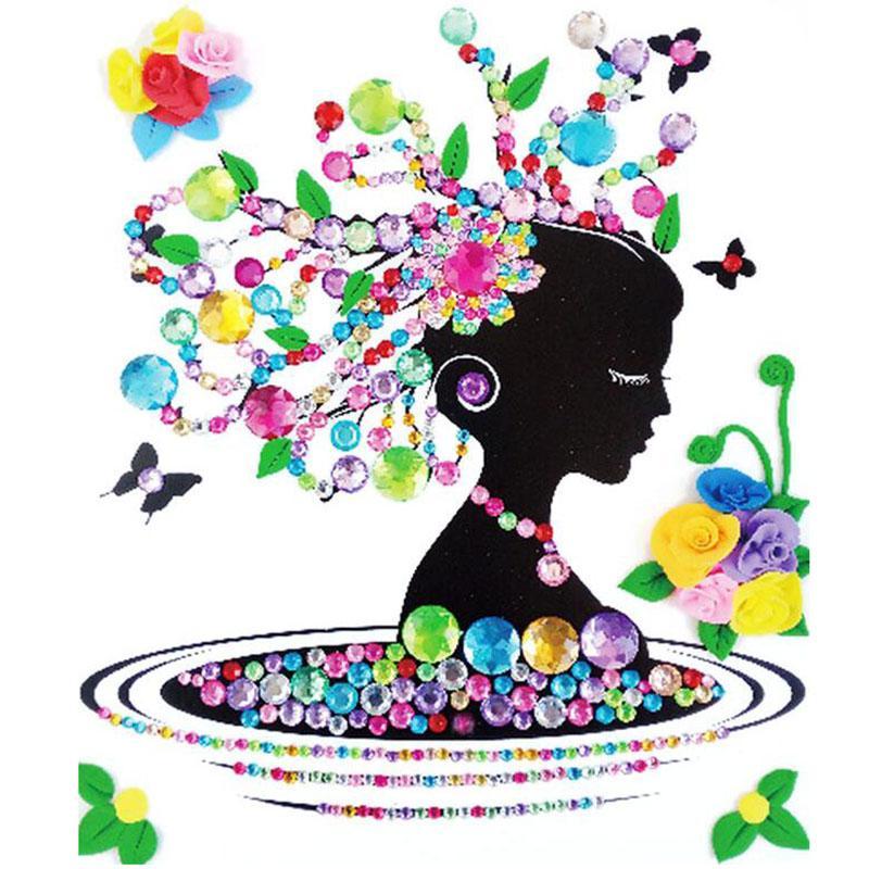 Renkli Elmaslar Yağlıboya Kil Siluetleri Çıkartmalar çocuk El Yapımı DIY Eğitici Oyuncaklar Kitleri çocuk el yapımı Sıcak