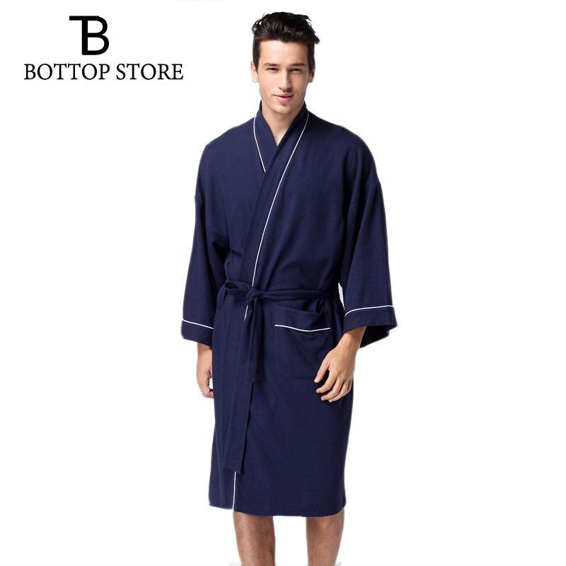 16e17f3ebe9a5 Acheter Peignoir Homme Grande Taille Pyjama Kimono Homme Coton Gaufre  Chemise De Nuit Chemise De Nuit Gay Loungewear Pyjamas Pour Hommes Vêtements  De Nuit ...