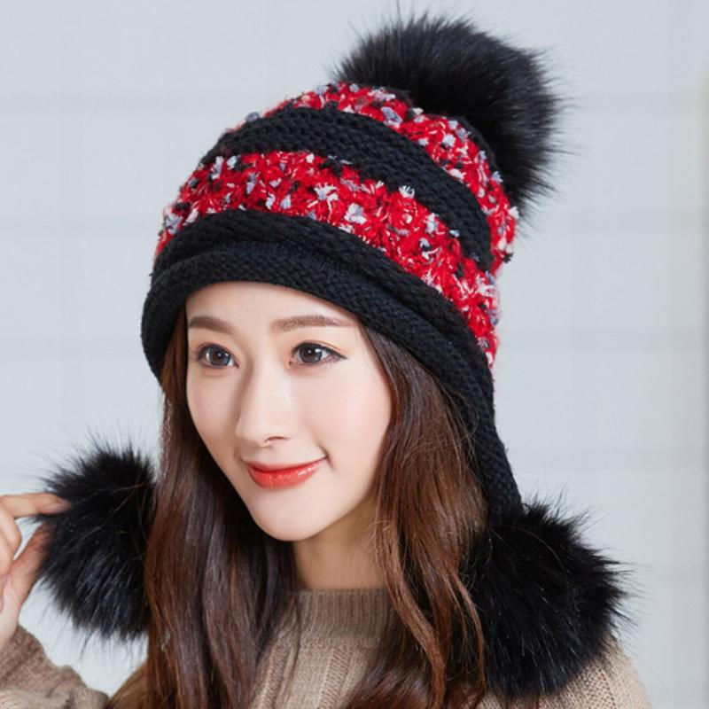 2f84d44ea58 HT2123 Women Winter Hats Skullies Beanies Thick Warm Three Fur Pompoms Ball  Earflap Cap Ladies Knitted Hats Casual Ski Beanies Knit Hat Hats And Caps  From ...